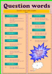 English Worksheets: Improve your knowledge on Question Words!! Part - 2