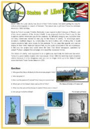 English Worksheet: Reading comprehension N�5. THE STATUE OF LIBERTY