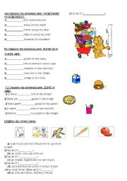 English Worksheet: food and drinks, countable-uncountables,some-any,how many-how much,thereis-there are