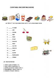 English Worksheets:  countable and uncountable nouns, how many,how much