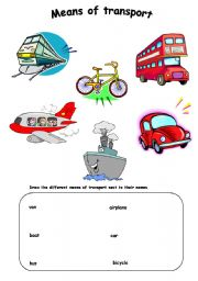 hd chart means of transports: Transport worksheet by missflo