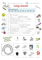 English Worksheets: Magic -e -- Long i sound
