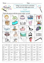 English Worksheets: Magic -e -- Long a sound