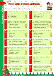 English Worksheet: Grammar Quiz Set (1)  -  Simple Present or Present Continuous?