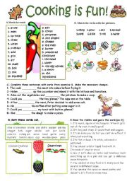 COOKING VERBS, KITCHEN UTENSILS and SEASONINGS (KEY INCLUDED)