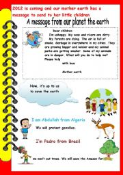 English Worksheet: a message from the earth