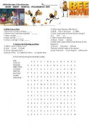 English Worksheet: bee movie activities
