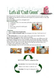 English Worksheets: Let�s all craft green!
