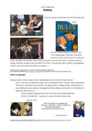 English Worksheet: Bullying - to be used as classroom activity / oral exam / written exam