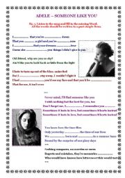 English Worksheet: Adele - someone like you - past form of verbs.