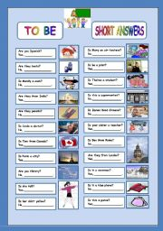 English Worksheet: TO BE short answers