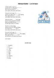 English Worksheet: Christmas song lyrics - Michael Buble Let It Snow