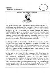 English Worksheet: Ibn Sina: A famous physician