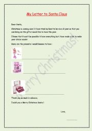 English Worksheets: Chistmas letter