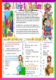 English Worksheet: A trip to Thailand