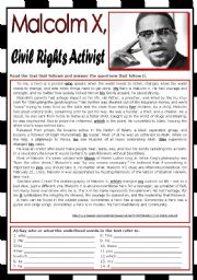 English Worksheet: Malcolm X - Civil Rights Activist