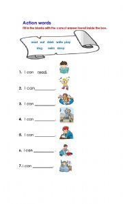English Worksheets: Action Words By Malot Docot