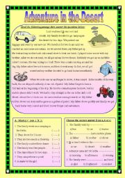 English Worksheet: Adventure in the Desert