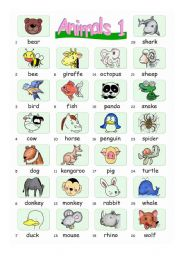 English Worksheet: Pictionary***Animals 1