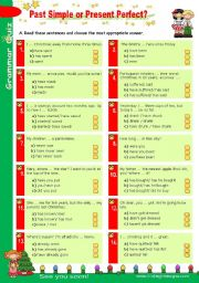 English Worksheet: Grammar Quiz set (4)  -  Past Simple or Present Perfect?