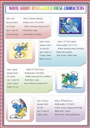 English Worksheets: smurfs characters