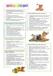 English Worksheet: REPORTED SPEECH REVISION 1(use other reporting verbs)