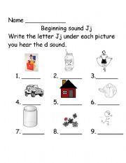 English Worksheet: Beginning sounds Jj