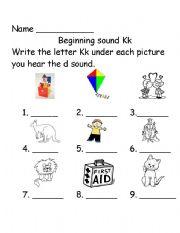 English Worksheet: Beginning sounds Kk
