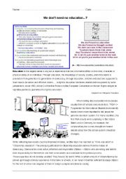 English Worksheet: Education - for classroom / oral exam / written exam - pre-intermediate