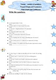 English Worksheets: Tenses revision - making questions.