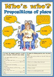 English Worksheet: Who is who  - Prepositions of place