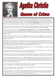 English Worksheet: Agatha Christie - Queen of Crime