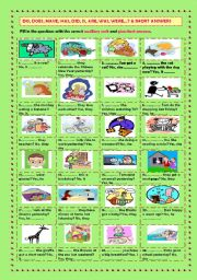 English Worksheet: Auxiliary verbs ? & short answers (+ key)