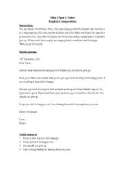 English Worksheet: English Composition (Writing a personal letter)