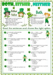 English worksheets: Both, either, neither