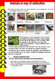 English Worksheets: animals in way of extinction