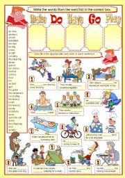 English Worksheet: HAVE-GO-MAKE-DO-PLAY