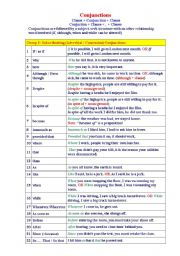 English Worksheets: Conjunction Types