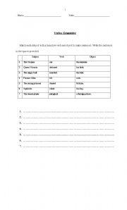 English Worksheet: Verbs: Transitive