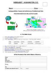 English Worksheet: washington dc webquest