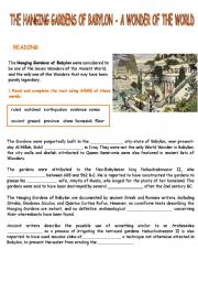 English Worksheets: THE HANGING GARDENS OF BABYLON - Reading and writing