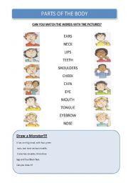 English Worksheets: Match the Parts of the Body