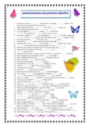 English Worksheet: Personal pronouns and possessive adjectives REVISION (A2)