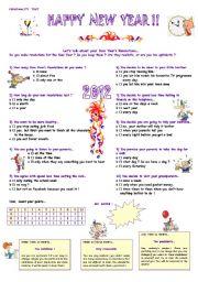 English Worksheet: Happy New Year !