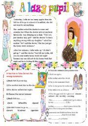 English Worksheets: A lazy pupil