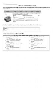 English Worksheet: Short Test - Technical English