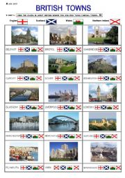 English Worksheets: British Towns ( 3 pages )