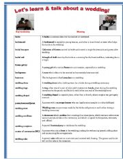 English Worksheet: Let�s learn and talk about a wedding!