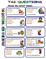 English Worksheets: TAG QUESTIONS VERB TO BE IN THE PAST