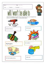English Worksheet: will / won�t  be able to